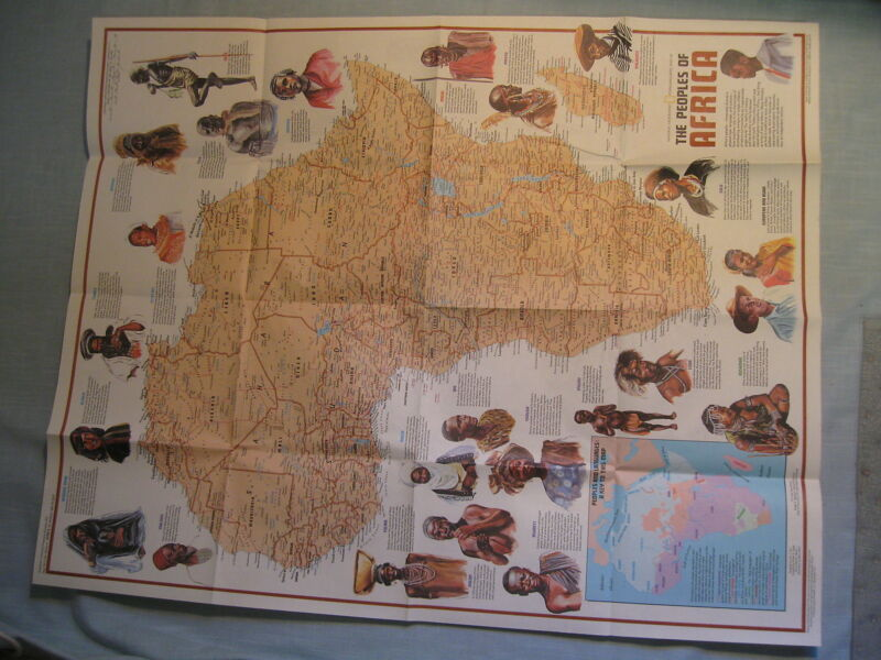 THE PEOPLES + THE HERITAGE OF AFRICA  MAP National Geographic December 1971 MINT