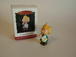 Hallmark-Keepsake-Ornament-1996-Handcrafted-Peanuts-Sally-Dear-Santa-List-IOB