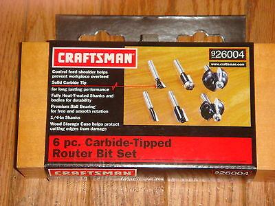 Craftsman 6 Pc. Router Bit Set Model 26004 Brand