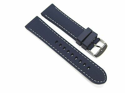 20mm Soft Rubber Diver Band Strap Certina Watch Blue Ws6p