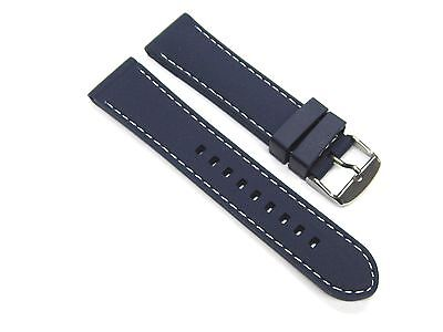 20mm Soft Rubber Diver Band Strap Croton Watch Blue Ws6p