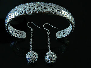 Elegante-amp-Argento-925-Lucidato-Con-Incavatura-Set-Gioielli-Orecchini-amp