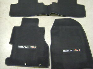 02-05 HONDA CIVIC Si H/B CARPET FLOOR MATS in BLACK set of 3 GENUINE FACTORY OEM