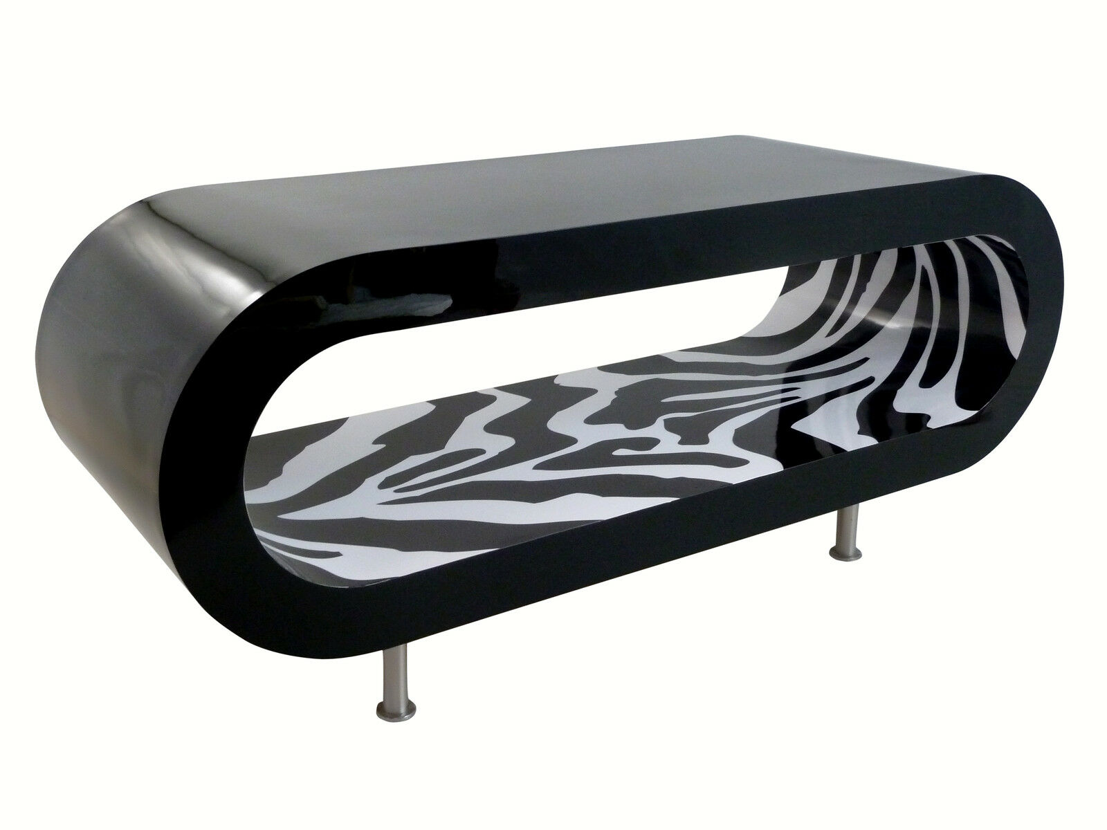 Retro Designer Coffee Table Zebra Stripe Black White Gloss Wooden