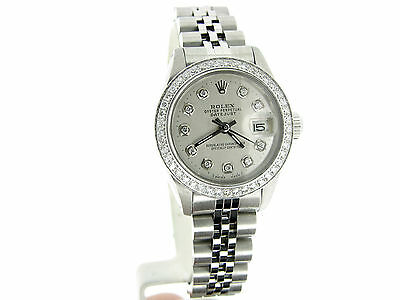 Ladies Stainless Steel ROLEX Datejust Watch W/Silver Diamond Dial Diamond Bezel