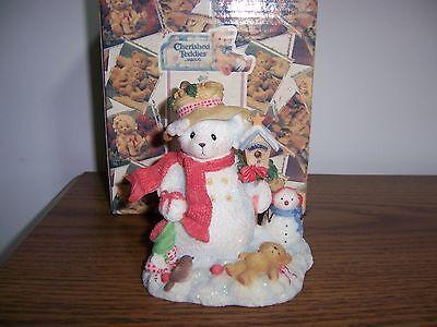 Cherished Teddies Merry Snowbear With Bird House Figurine NIB