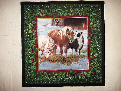 Christmas Farm Animals Quilted Wall Hanging