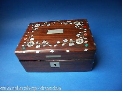 17502 Kästchen  Biedermeier Schmuckschatulle Perlmutt Silber jewelery box beauty
