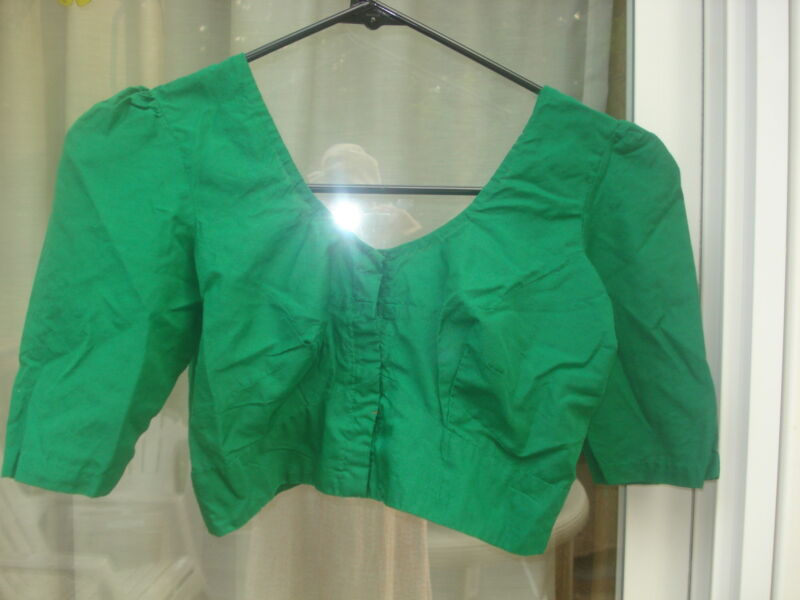 "PRE-OWENED MEDIUM GREEN COTTONSILK BLOUSE FITS TO BUST 32""-35""(USA SELLER)"