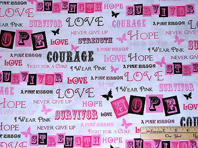 Pink Ribbons Of Hope Graffiti White Breast Cancer Survivor Fabric By 1/2 Yard