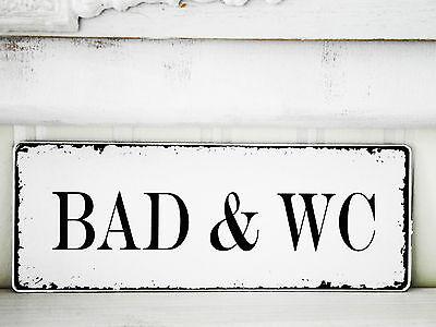 Schild Türschild Vintage ♥BAD&WC♥  Nostalgie Landhaus shabby  antik Holz