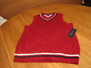 Boys-youth-Sweater-vest-pull-over-V-neck-sleeveless-Tommy-Hilfiger-4-red-navy
