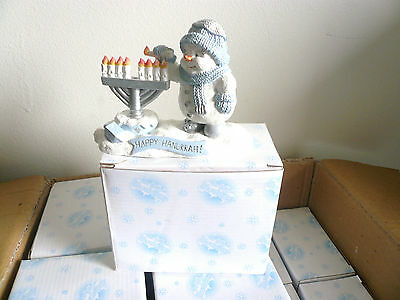 SNOW BUDDIES MENORAH CANDLES SNOWMAN FIGURINE JEWISH HAPPY HANUKKAH #95526 2001