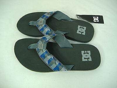 Mens 11 Dc Shoes Habit Gray Blue Plaid Surf Beach Sandals $25