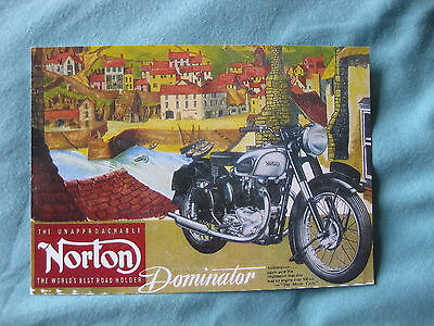 NORTON DOMINATOR 1962 CLASSIC BIKE  POSTCARD OF AN ORIGINAL AD NEW