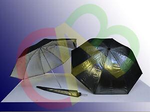 OMBRELLO-DA-84-CM-RIFLETTENTE-NERO-E-ARGENTO-BLACK-amp-SILVER-UMBRELLA