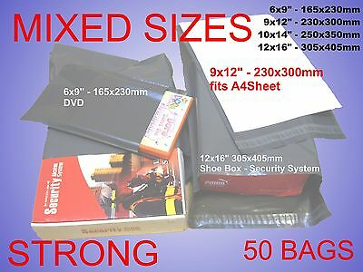 50 Mixed Grey Plastic Postal Mailing Postage Bags  Book Shoes Dress DVD Shirt