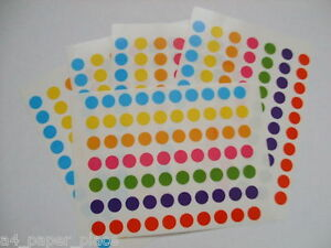 420 x  8mm ROUND COLOURED DOTS STICKERS CIRCLE CODE SPOT STICKY PLANNER LABELS