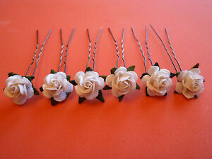 6-ROSE-HAIR-PINS-GRIPS-FLOWER-WEDDING-ACCESSORIES-30-COLOURS-AVAILABLE