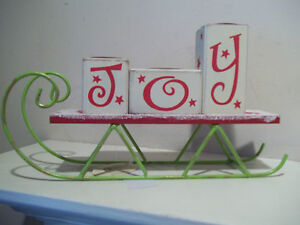 CHRISTMAS-JOY-DECORATIVE-TEA-LIGHT-CANDLE-HOLDER-SLED-RED-WHITE-WOODEN-METAL