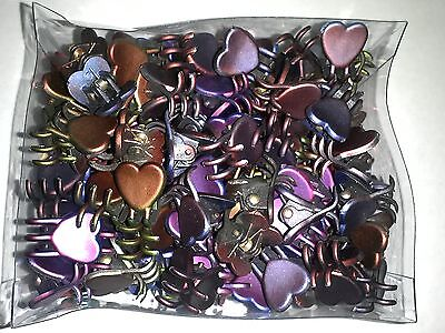 Mini Claw Heart Snap Hair Clips Dark Chrome Colors Styling Wholesale Lot Of 576