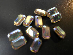 Swarovski-vintage-12-cristaux-rectangle-a-sertir-4x6mm-crystal-ab