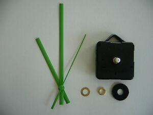 QUARTZ-CLOCK-MECHANISM-MEDIUM-SPINDLE-130mm-GREEN-HANDS