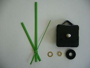 QUARTZ-CLOCK-MECHANISM-MEDIUM-SPINDLE-130mm-GREEN-HANDS