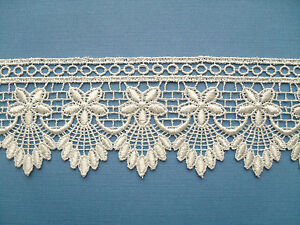 Beautiful Ivory Cream Flower GUIPURE/VENISE Lace  2