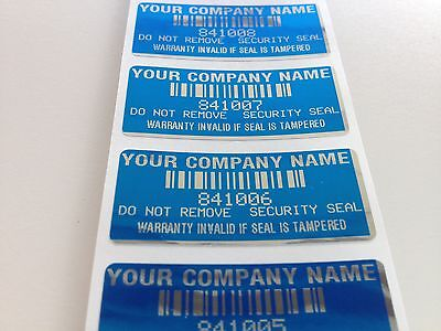 1000 CUSTOM PRINTED BLUE WARRANTY VOID SECURITY LABELS SEALS STICKERS SEALS -