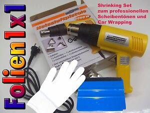 Folien-Montage-Shrink-Set-Scheibentonen-CarWrap-schrumpfen-Fohn-Handschuh-Rakel