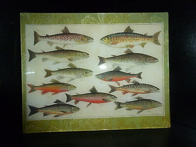 TROUT FISH Muse about DECOUPAGE GLASS TRAY NEW Leg up CRAFTED USA