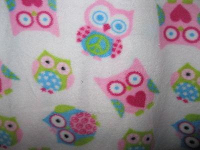 White Pink & Blue Owl Owls & Peace Symbols Fleece Pajamas Lounge Pants Jr Xl