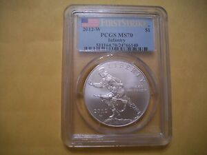 2012-W-INFANTRY-1-SILVER-UNCIRCULATED-PCGS-MS70-FIRST-STRIKE