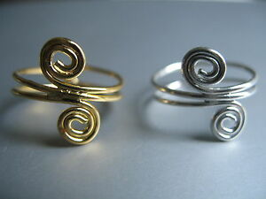 Gold-Tone-Silver-Tone-Swirly-Design-Spiral-Toe-Rings-adjustable-size