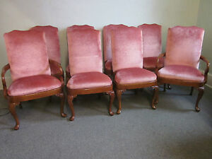 Henredon-Set-of-8-High-back-Queen-Anne-Dining-Chairs