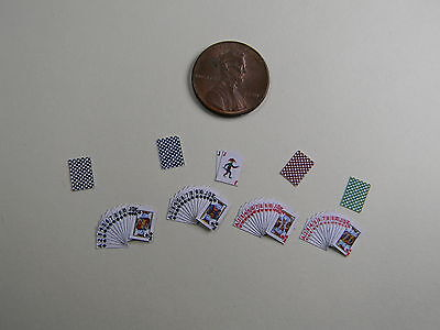 Miniature Playing Cards 1:12 scale  with Red Backs