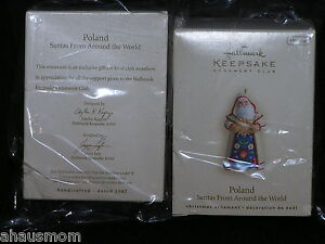 HALLMARK 2007 CLUB ORNAMENT POLAND SANTA BNIB