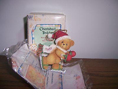 Cherished Teddies Bear With Ice Skates Ornament Dated 1995 MIB