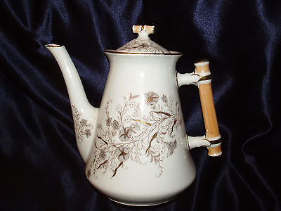 RORSTRAND SWEDEN 2 Q COFFEE POT ASIAN BAMBOO HANDLE GRAY WHITE FLOWERS GOLD TRIM