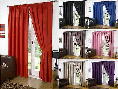 Luxury Thermal Blackout Curtains Black Red Plum Supersoft Pencil ...