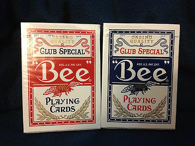Bee Standard Casino Quality Club Special Playing Cards Red and Blue! New sealed!