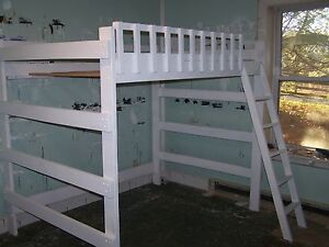 Heavy Duty Full Size Loft Bed With Ladder 68 Inches Tall