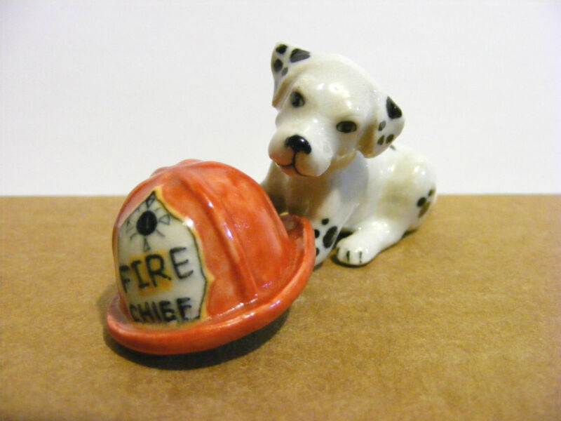 Northern Rose Puppy With Fireman's Hat Miniature Animal Figurine Dalmatian Dog