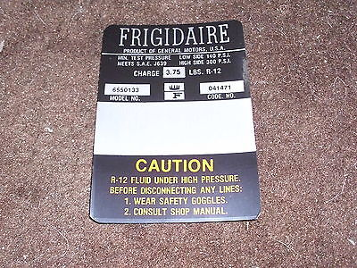 1966 Chevrolet Corvair Frigidaire Air Conditioning Compressor Engine Cmpt Decal