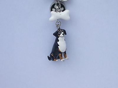 BERNESE MOUNTAIN DOG KEY RING OR BAG CHARM HANDPAINTED