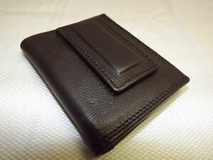 NEW-LONDON-STITCH-BLACK-LEATHER-FRONT-POCKET-CREDIT-CARD-WALLET-WITH-MONEY-CLIP