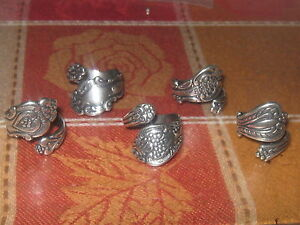 LOT OF 5 VINTAGE ANTIQUE STYLE ADJUSTABLE ROSE SILVER SPOON RINGS SIZES 6-10