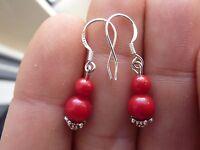 Orecchini Di Corallo Rosso Autentico 6-4 Mm Gancio Arg 925 -  - ebay.it