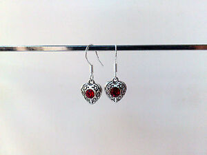 UK Sterling Silver Earrings ~ Heart Rhinestone Crystal Drops ~ 925 Ear hook